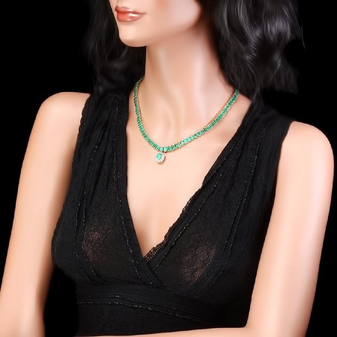 14k Gold 41.75ct Emerald 0.95ct Diamond Necklace - 5