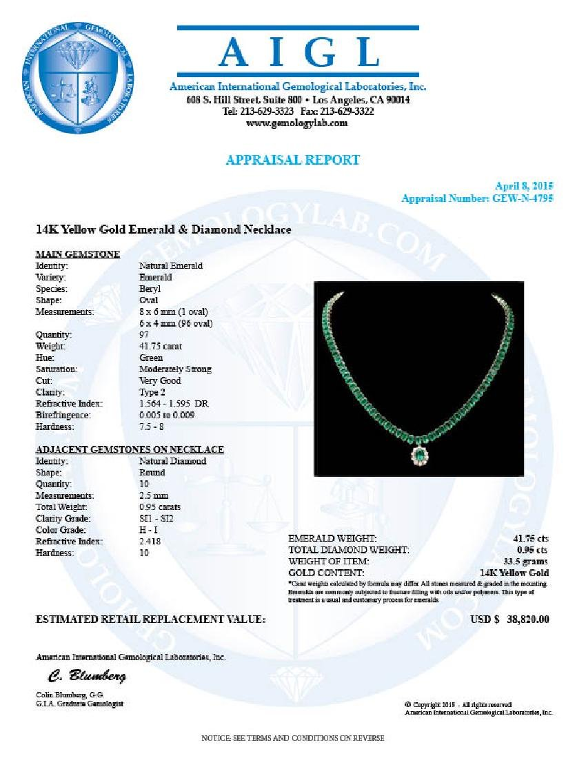 14k Gold 41.75ct Emerald 0.95ct Diamond Necklace - 6