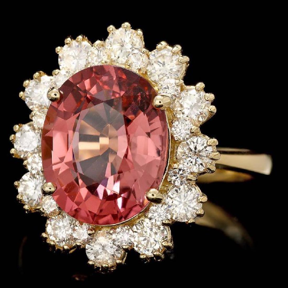 14k Gold 5ct Tourmaline 1.20ct Diamond Ring