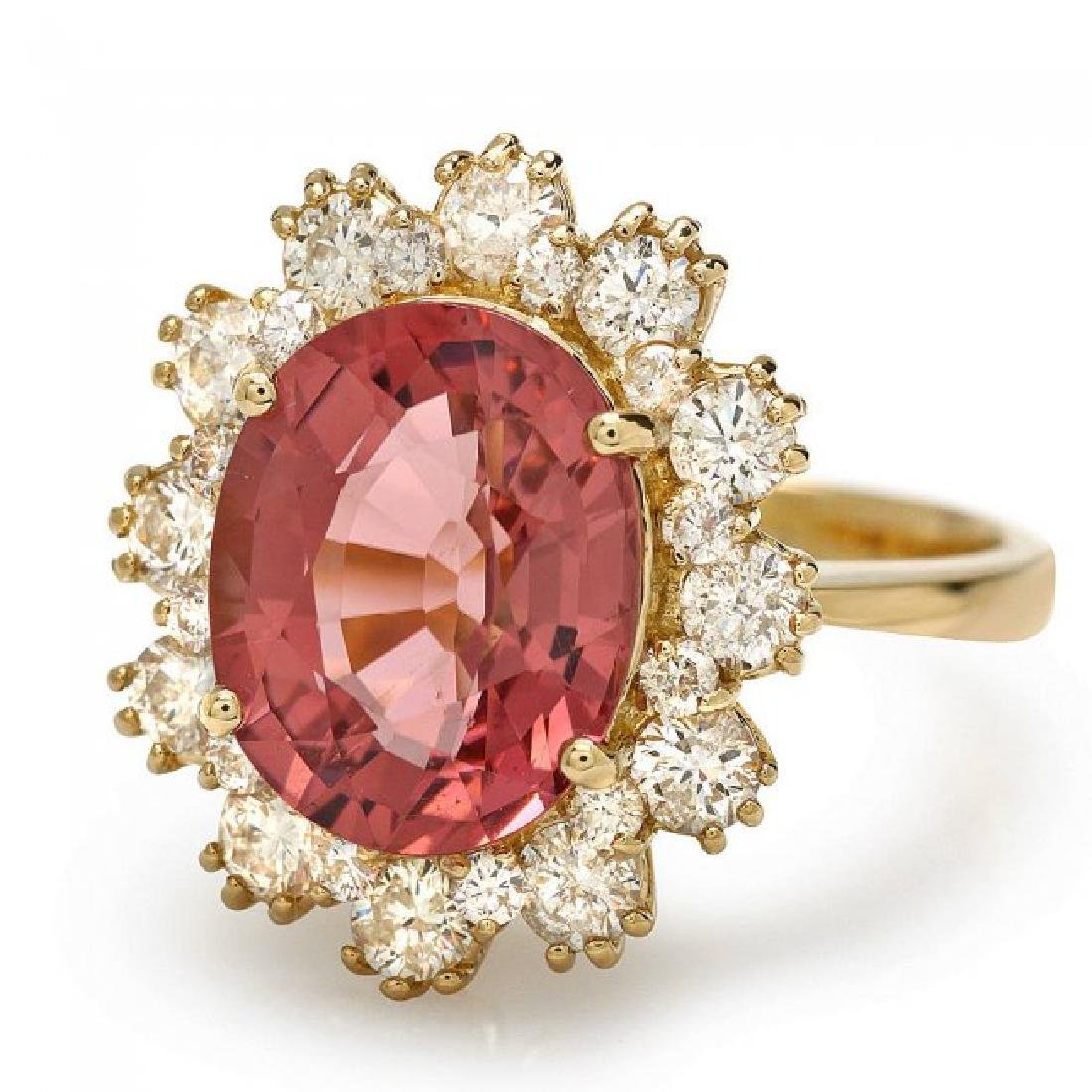 14k Gold 5ct Tourmaline 1.20ct Diamond Ring - 2