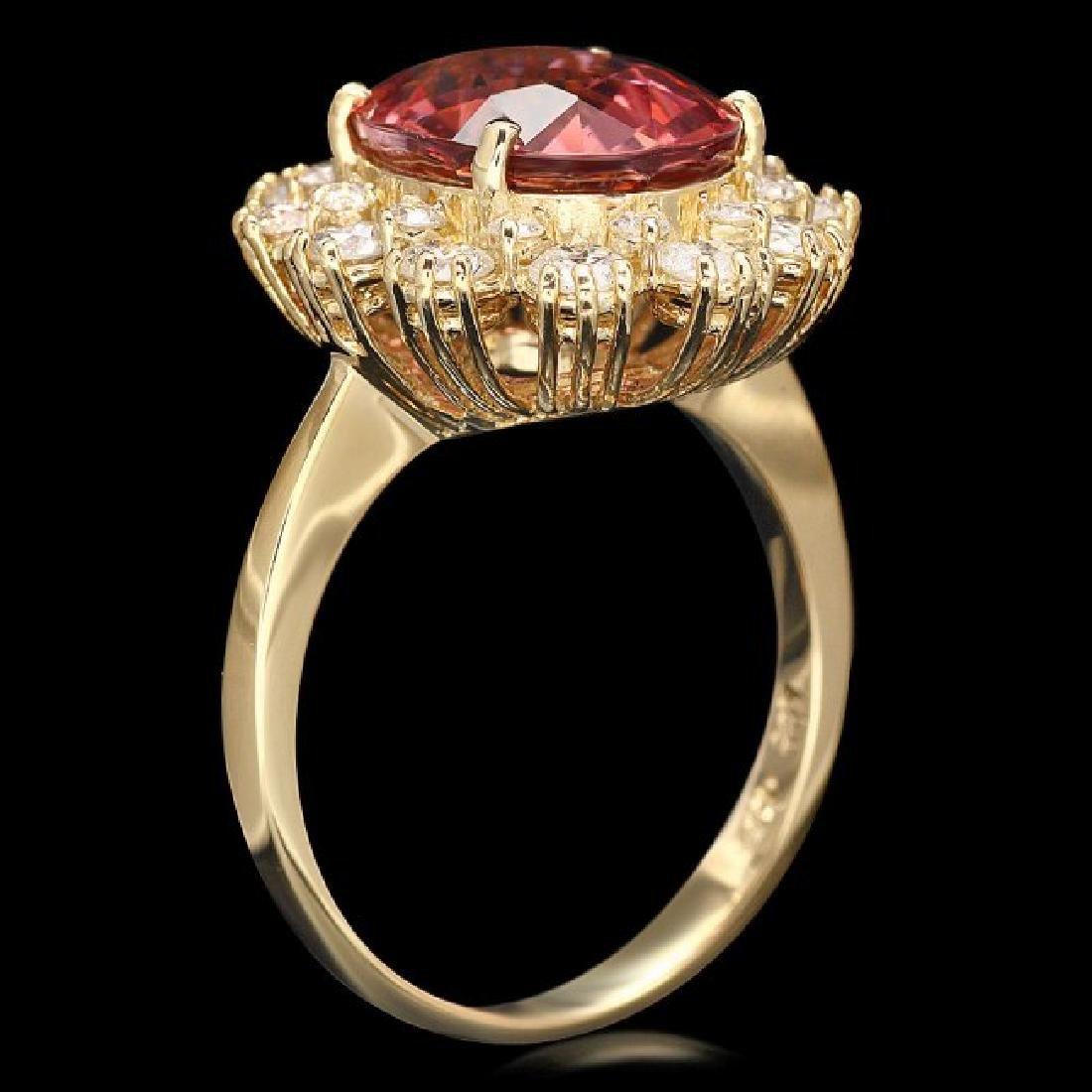 14k Gold 5ct Tourmaline 1.20ct Diamond Ring - 3