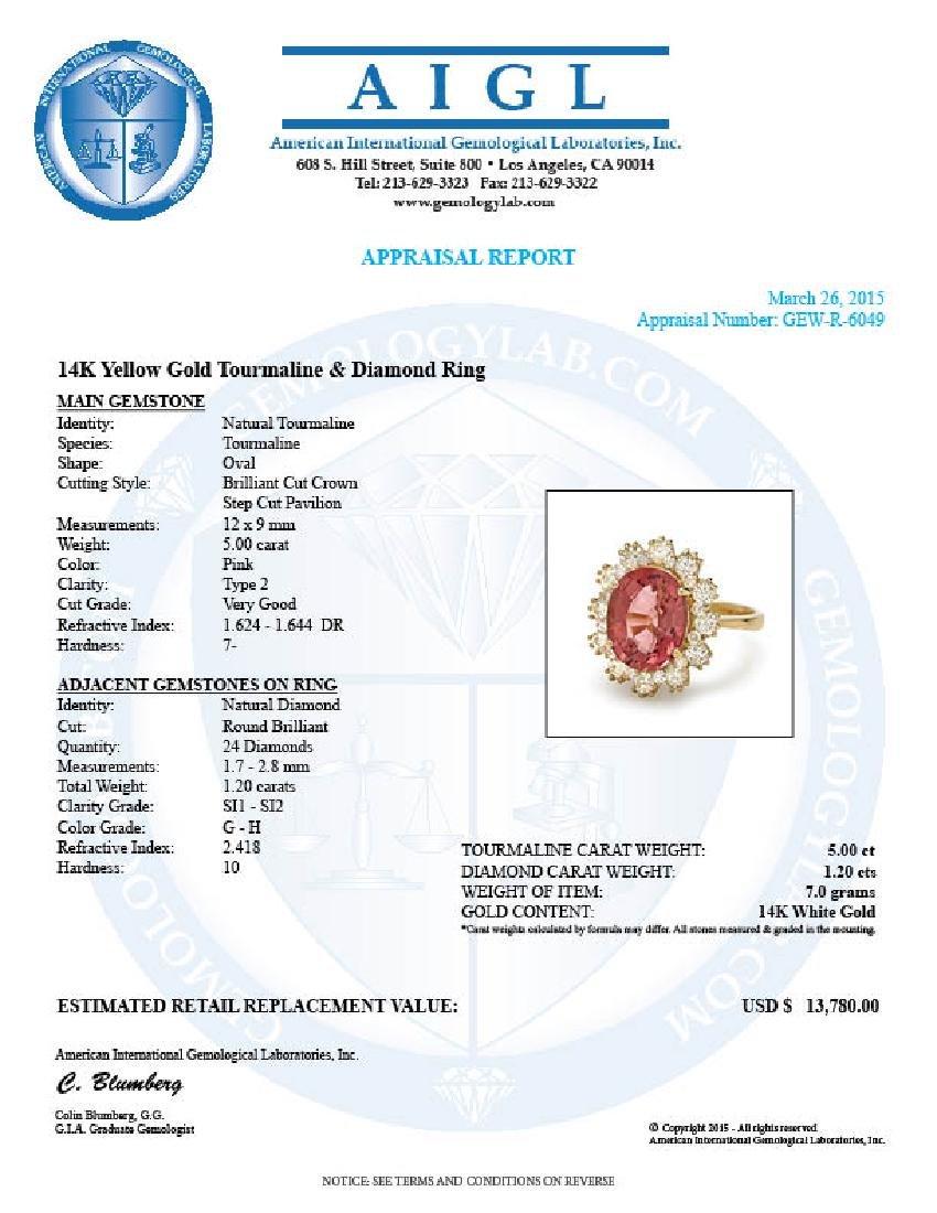14k Gold 5ct Tourmaline 1.20ct Diamond Ring - 5