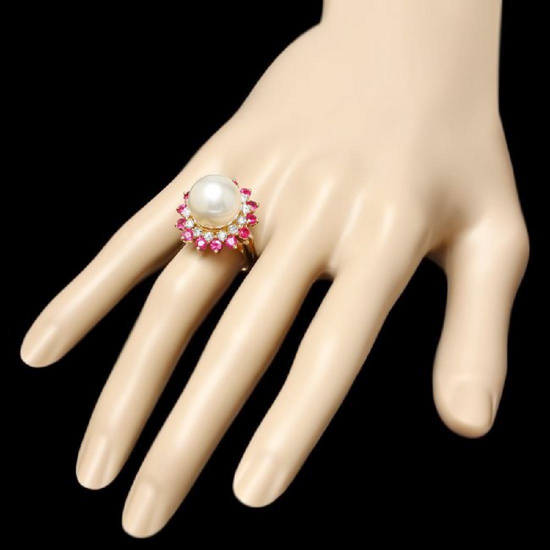 14k Gold 13 X 13mm Pearl 0.80ct Diamond Ring - 3
