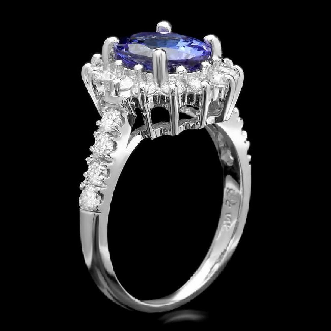 14k White Gold 2.5ct Tanzanite 1ct Diamond Ring - 2