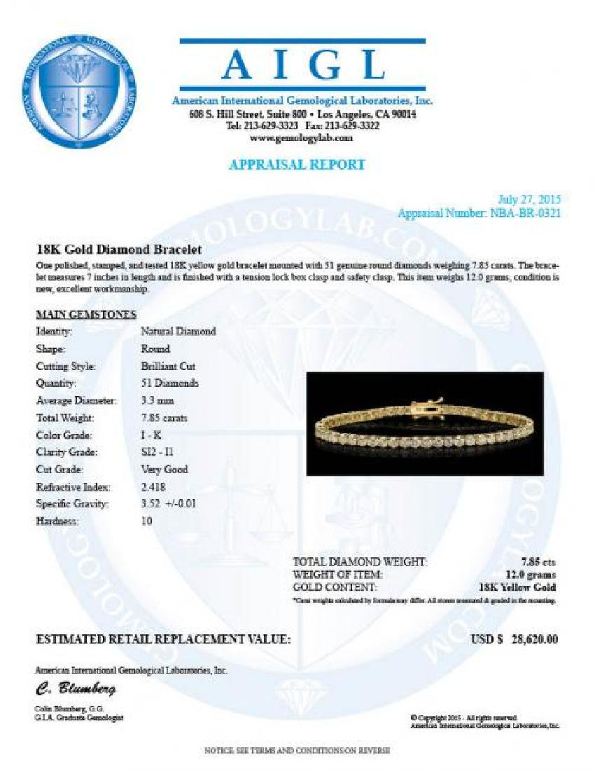 18K Gold 7.85ct Diamond Bracelet - 4