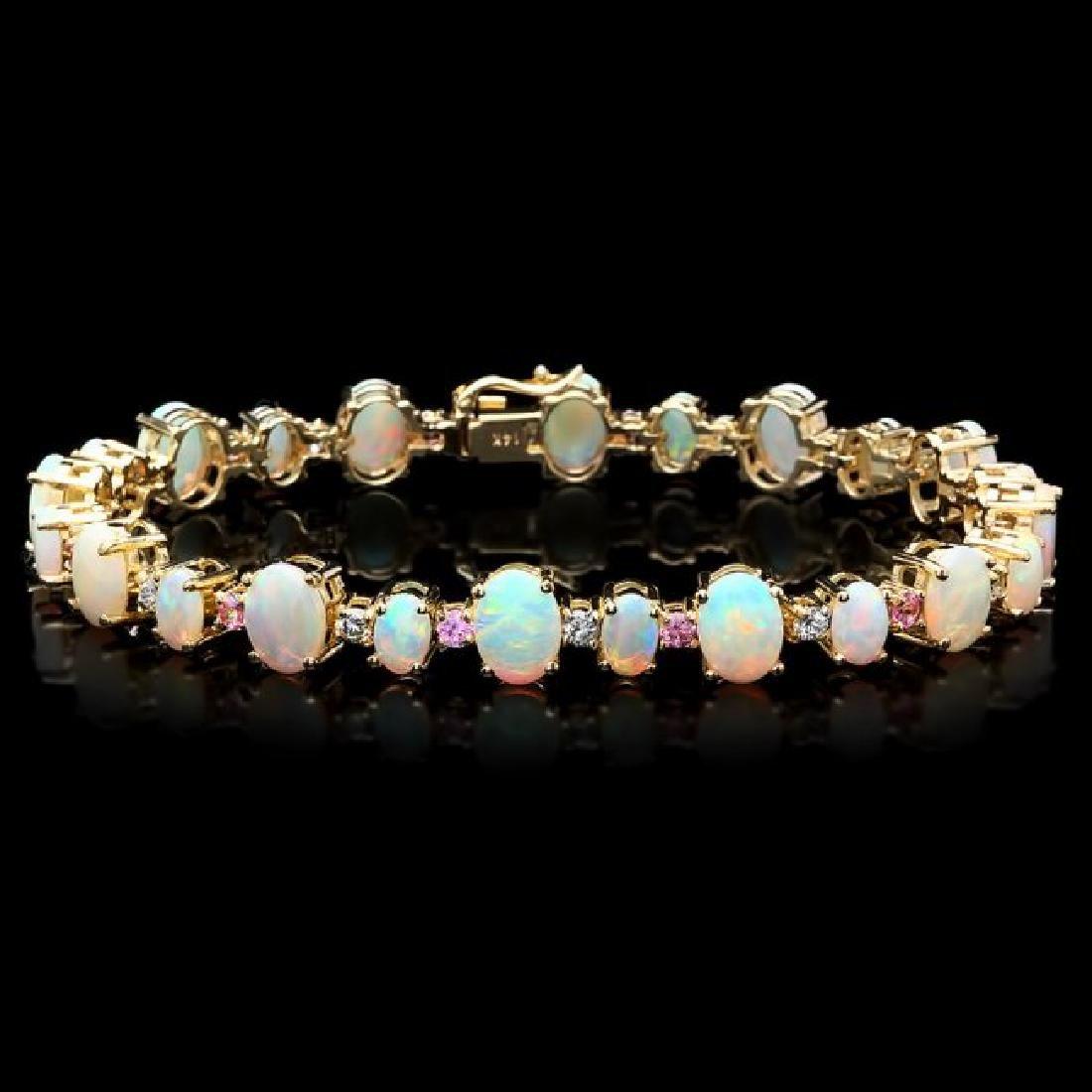 14k Gold 12.00ct Opal 0.85ct Diamond Bracelet