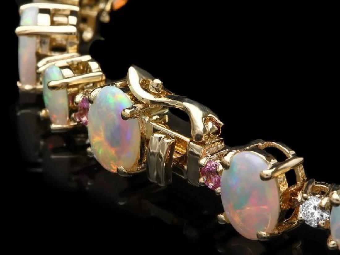 14k Gold 12.00ct Opal 0.85ct Diamond Bracelet - 2