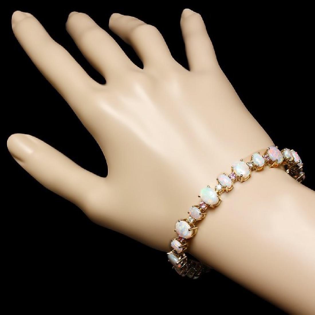 14k Gold 12.00ct Opal 0.85ct Diamond Bracelet - 3