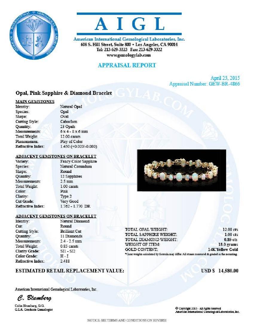 14k Gold 12.00ct Opal 0.85ct Diamond Bracelet - 5