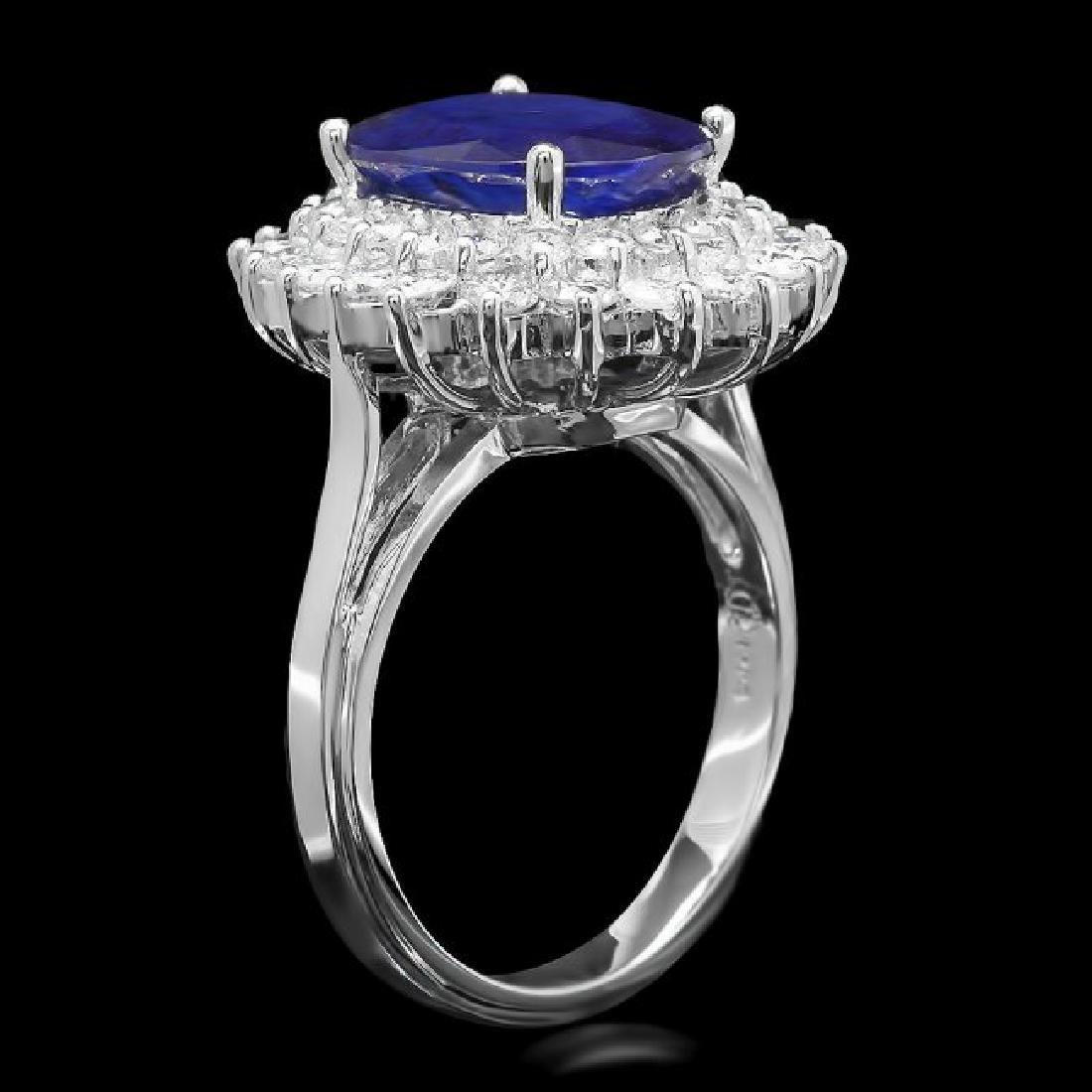 14k Gold 4.50ct Sapphire 1.45ct Diamond Ring - 2