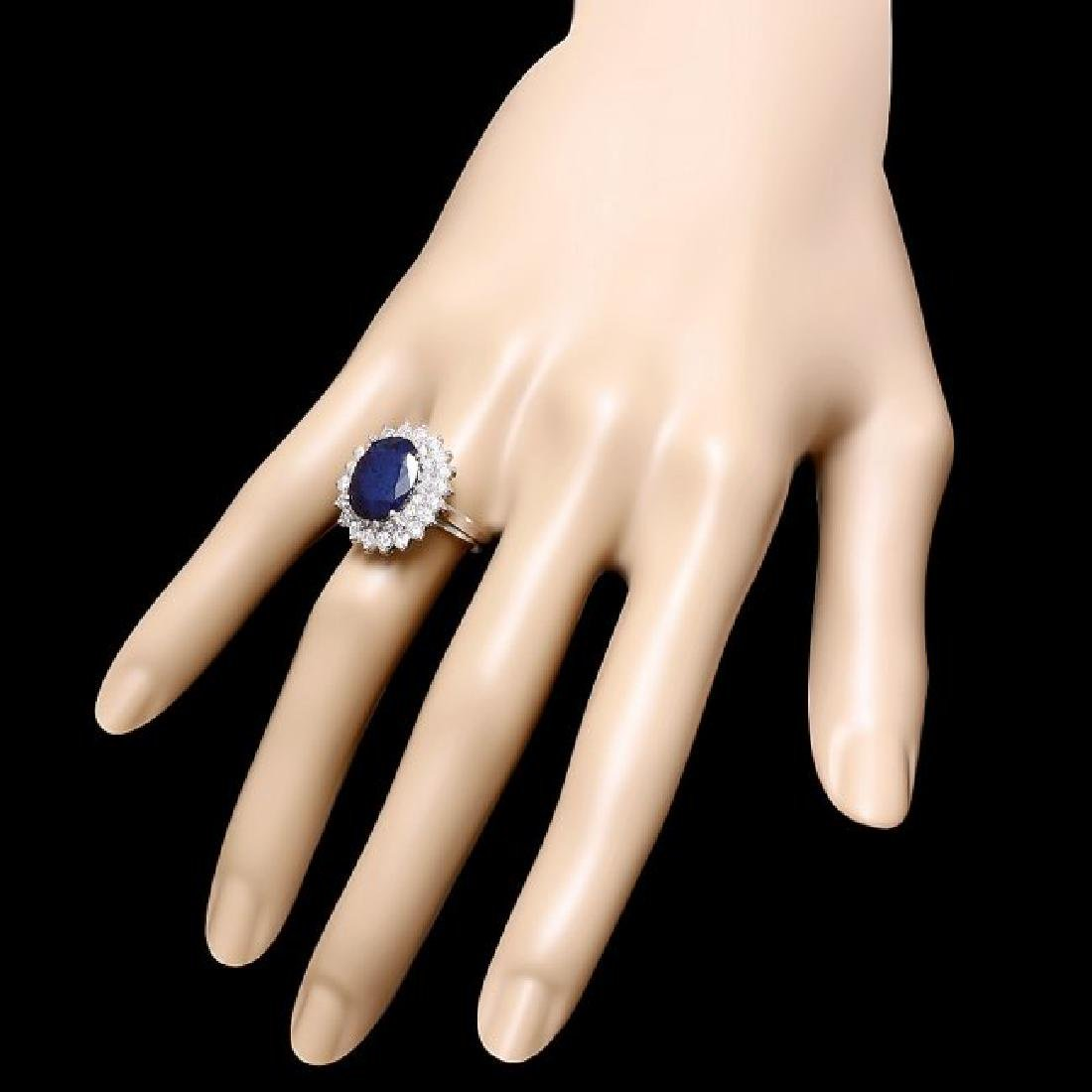 14k Gold 4.50ct Sapphire 1.45ct Diamond Ring - 3