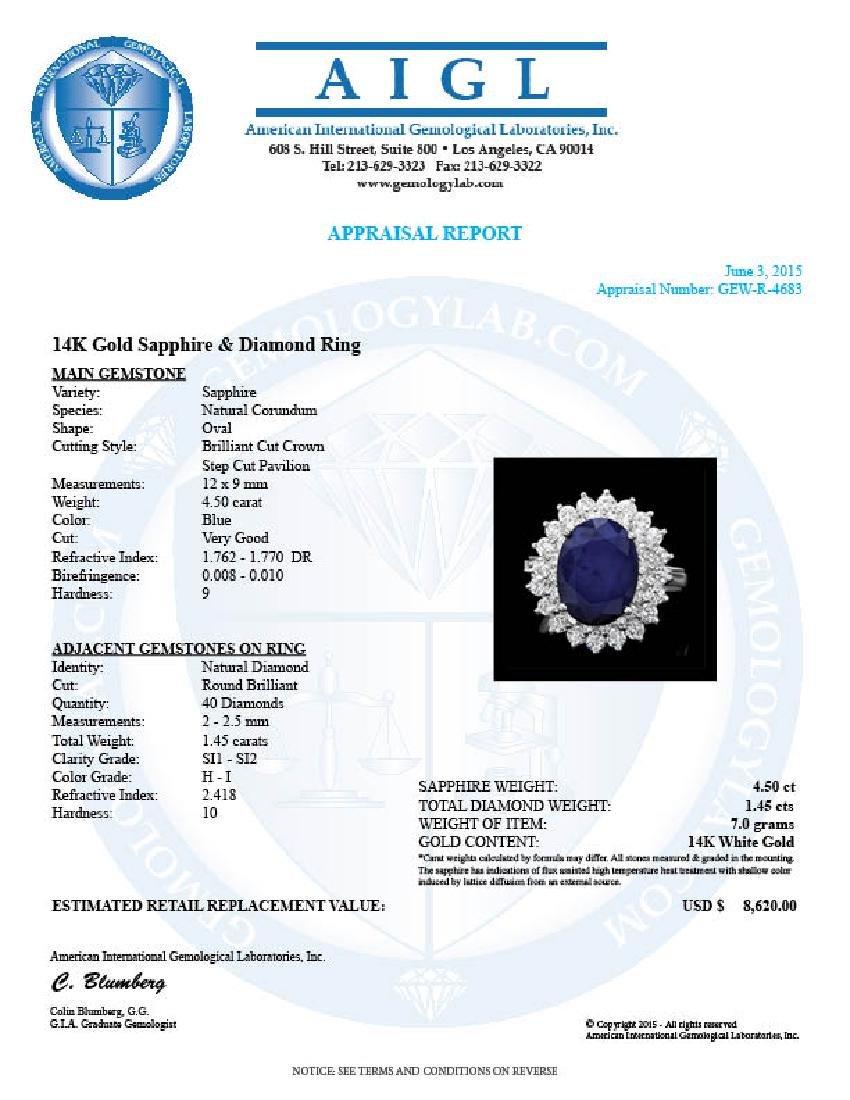 14k Gold 4.50ct Sapphire 1.45ct Diamond Ring - 4