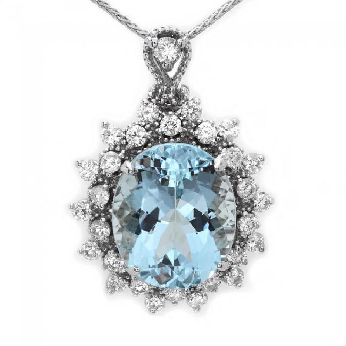14k Gold 5.50ct Aquamarine 0.80ct Diamond Pendant - 2