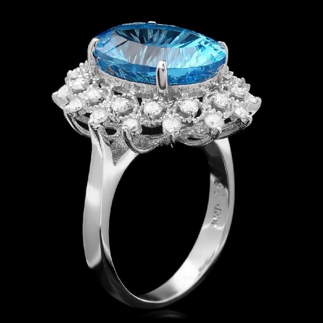 14k White Gold 8.40ct Topaz 0.70ct Diamond Ring - 2
