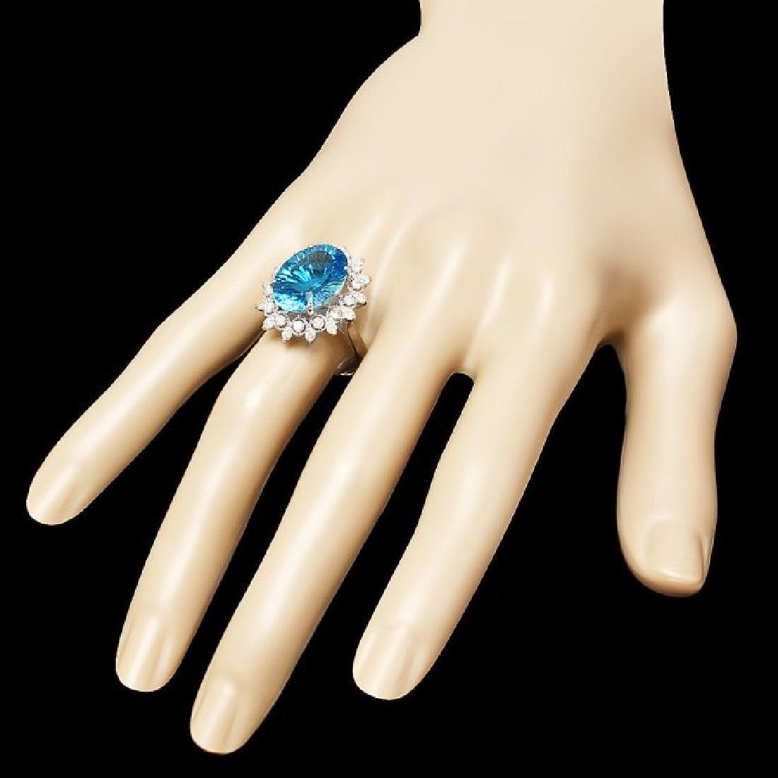 14k White Gold 8.40ct Topaz 0.70ct Diamond Ring - 3