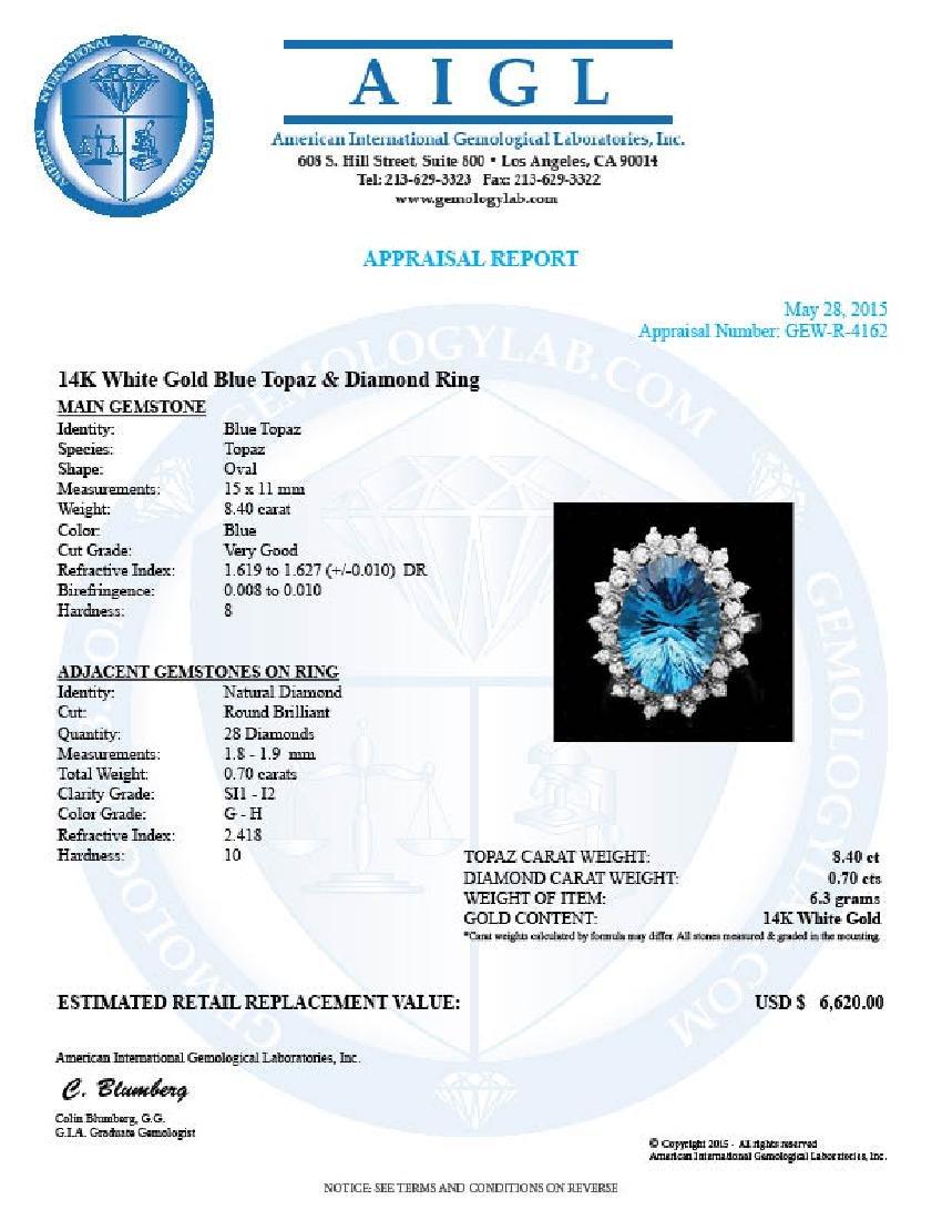 14k White Gold 8.40ct Topaz 0.70ct Diamond Ring - 4