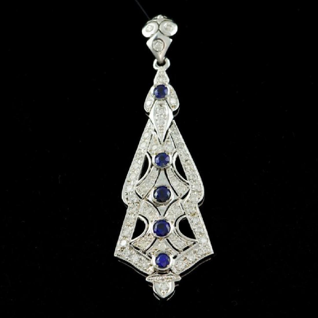 14k Gold 1.30ct Sapphire 2.05ct Diamond Pendant