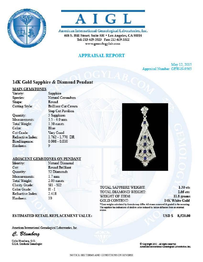 14k Gold 1.30ct Sapphire 2.05ct Diamond Pendant - 3