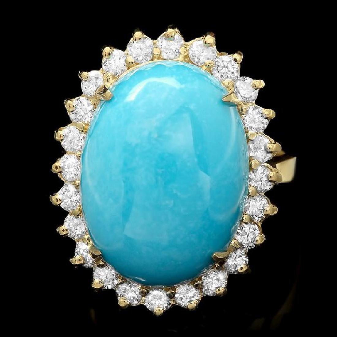 14k Yellow Gold 10ct Turquoise 1ct Diamond Ring