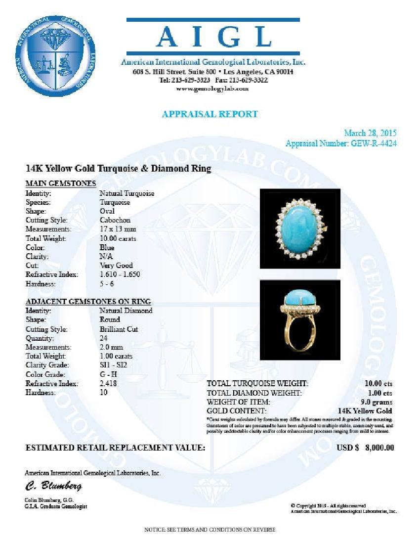 14k Yellow Gold 10ct Turquoise 1ct Diamond Ring - 4
