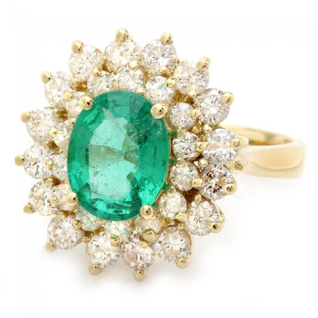 18k Gold 1.75ct Emerald 1.50ct Diamond Ring - 2