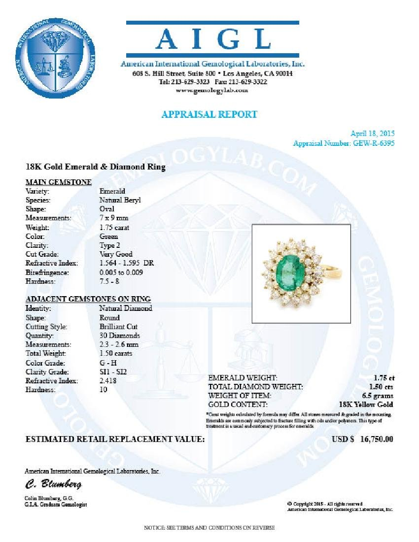 18k Gold 1.75ct Emerald 1.50ct Diamond Ring - 5