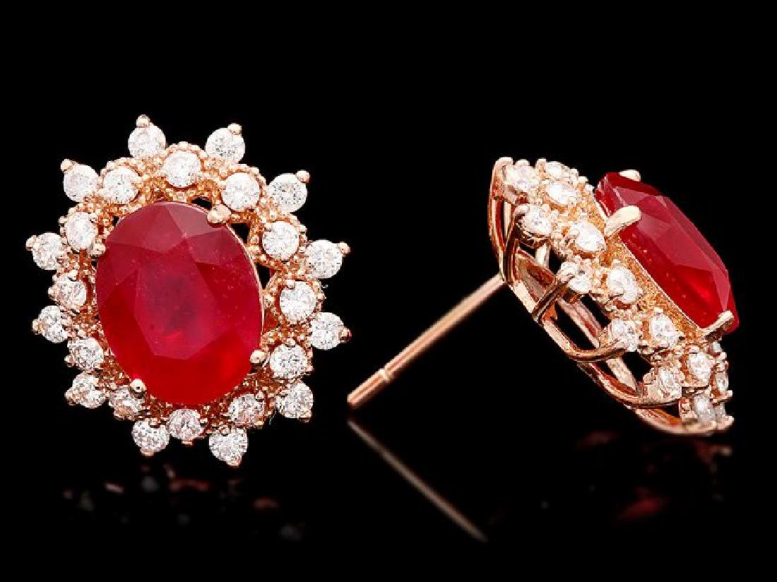14k Rose Gold 8.00ct Ruby 1.30ct Diamond Earrings - 3