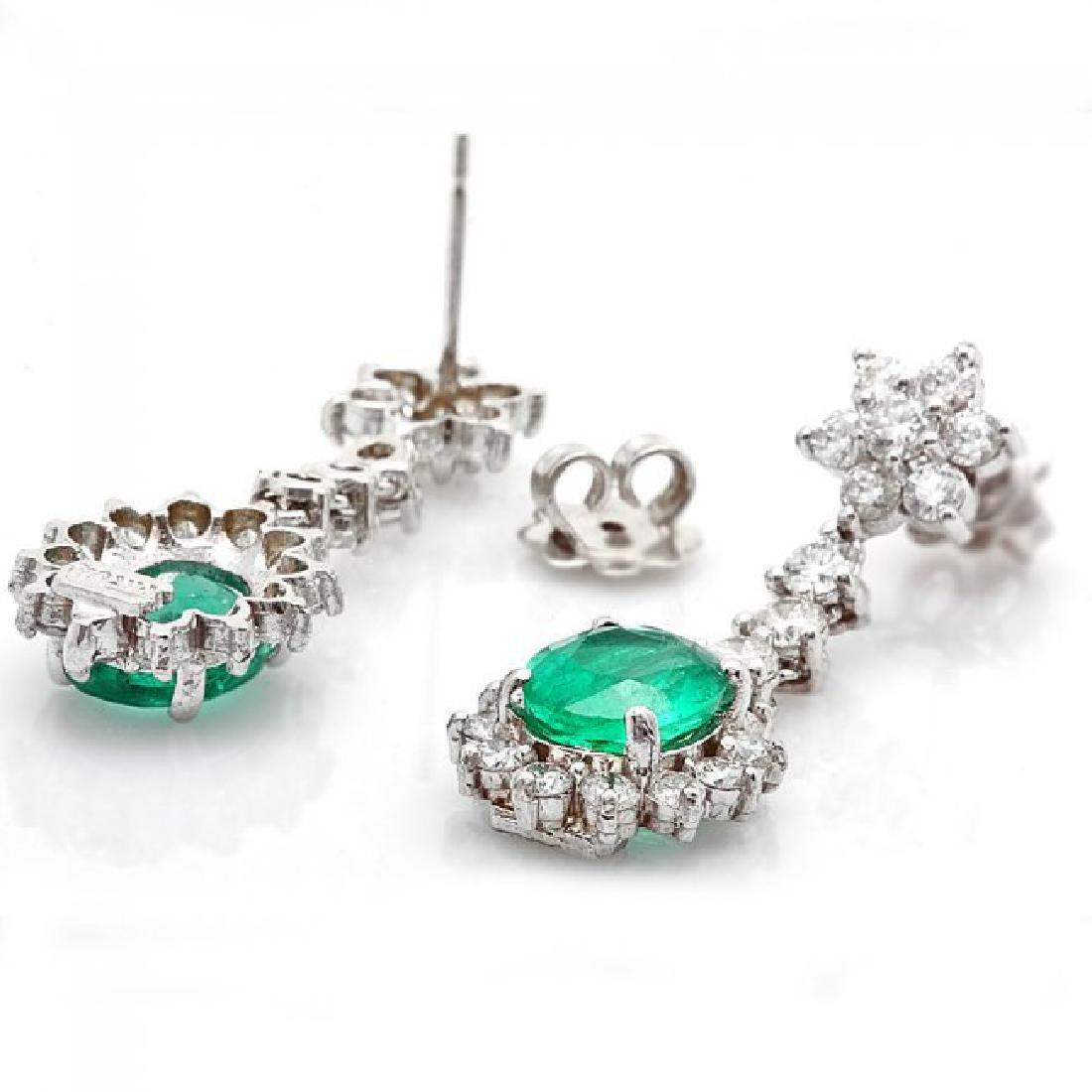 14k W Gold 3.50ct Emerald 2.50ct Diamond Earrings - 2