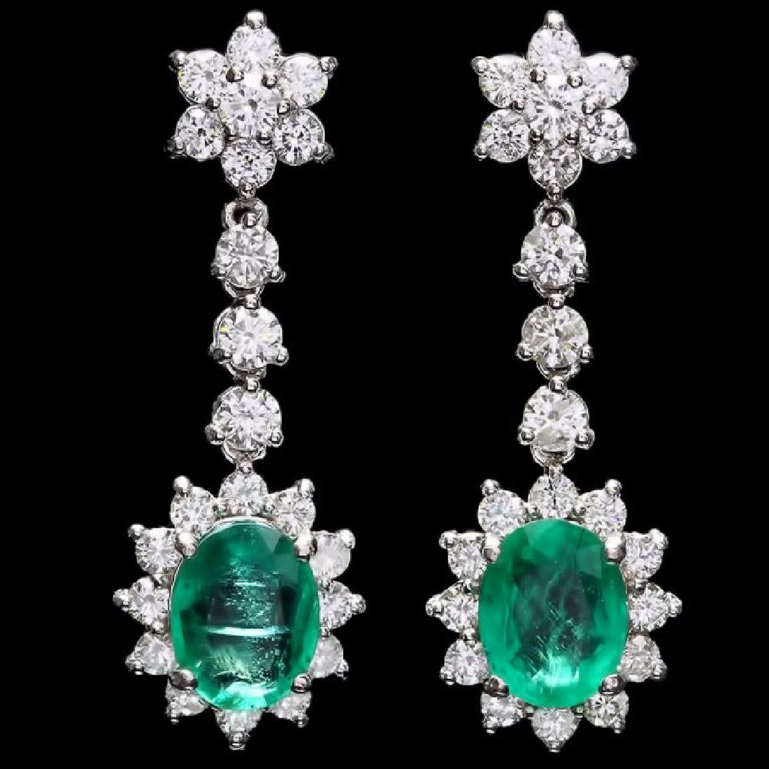 14k W Gold 3.50ct Emerald 2.50ct Diamond Earrings - 3