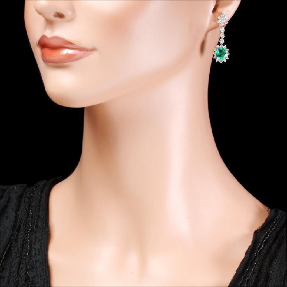 14k W Gold 3.50ct Emerald 2.50ct Diamond Earrings - 4