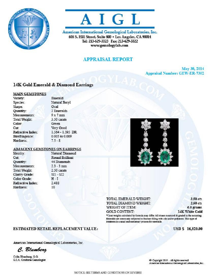 14k W Gold 3.50ct Emerald 2.50ct Diamond Earrings - 5