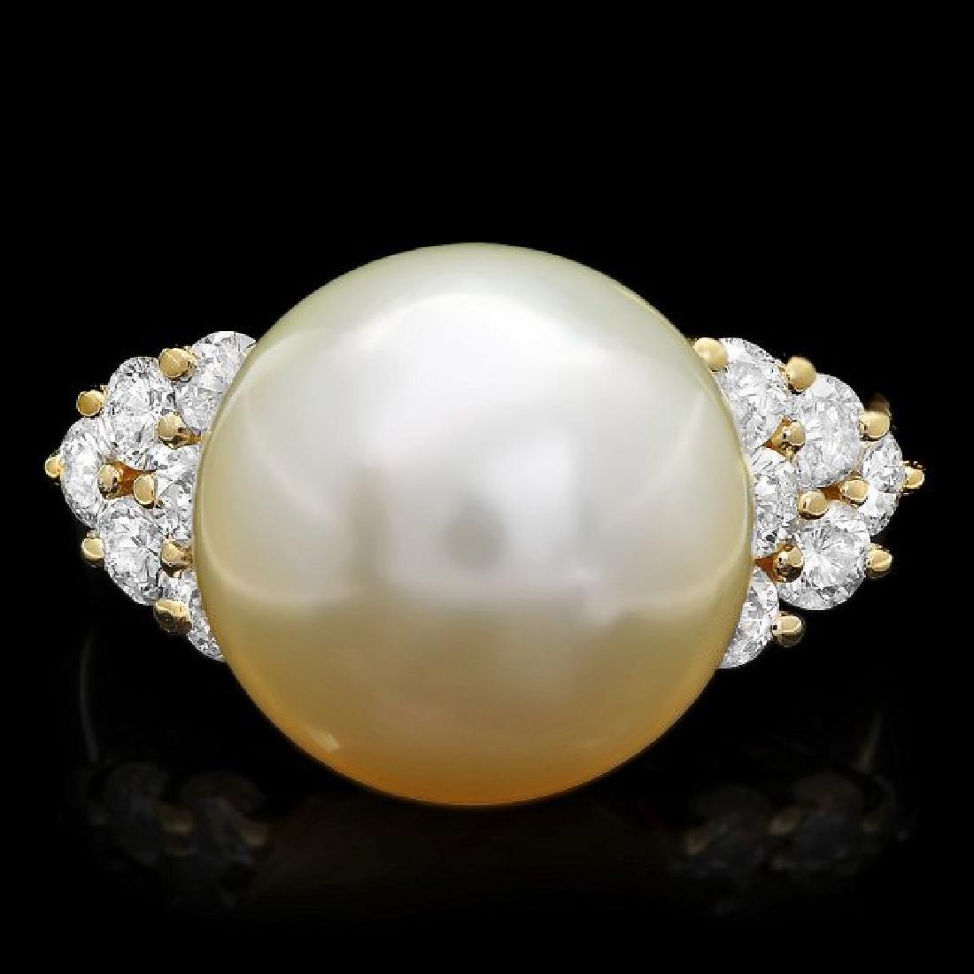 14k Gold 14 X 14mm Pearl 1.15ct Diamond Ring