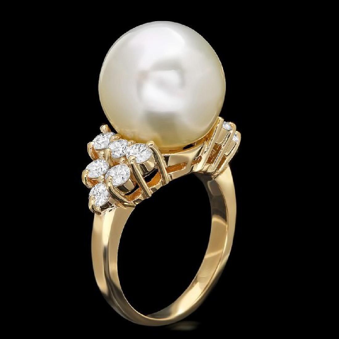 14k Gold 14 X 14mm Pearl 1.15ct Diamond Ring - 2