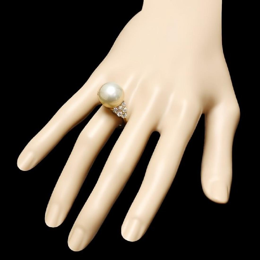 14k Gold 14 X 14mm Pearl 1.15ct Diamond Ring - 3