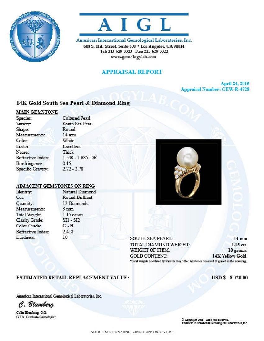 14k Gold 14 X 14mm Pearl 1.15ct Diamond Ring - 4