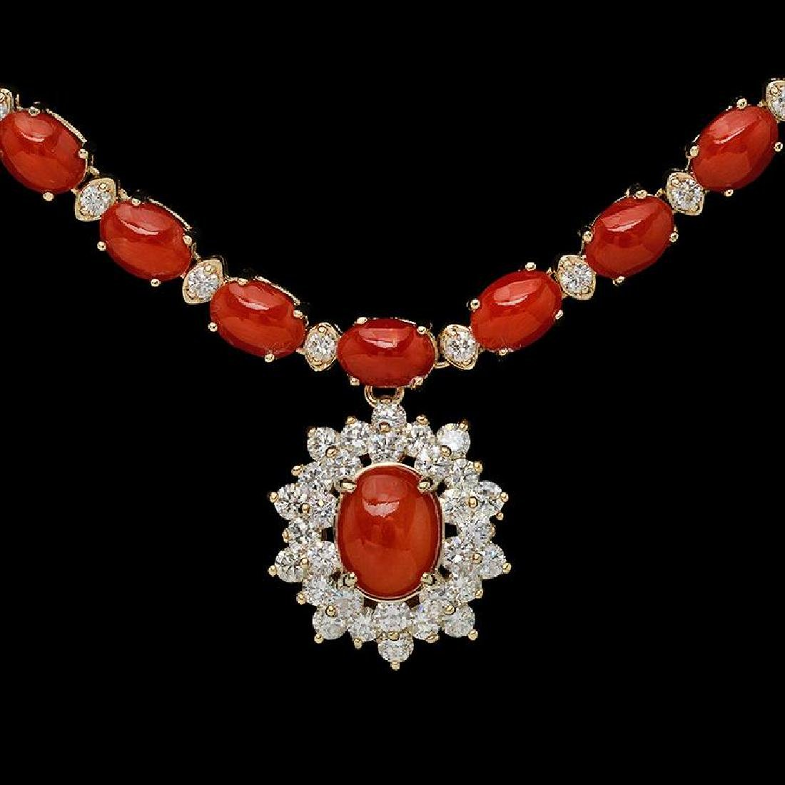 14K Gold 30.93ct Coral & 2.85ct Diamond Necklace - 2