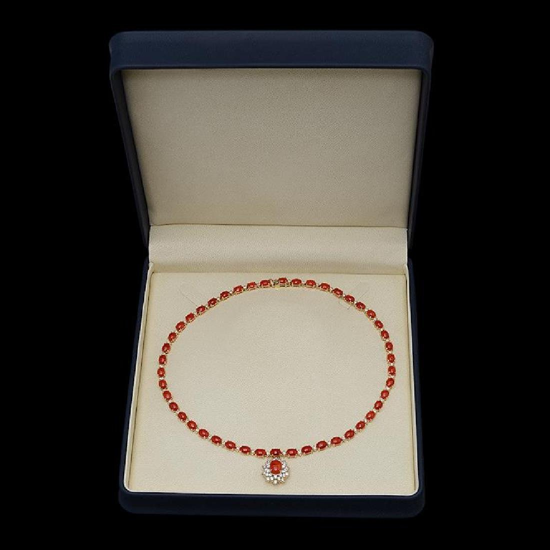 14K Gold 30.93ct Coral & 2.85ct Diamond Necklace - 3