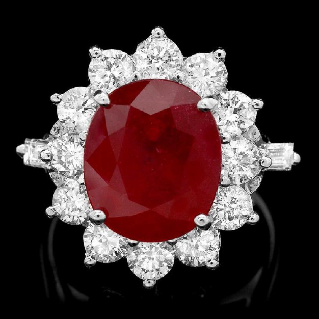 14k White Gold 7.00ct Ruby 2.3ct Diamond Ring