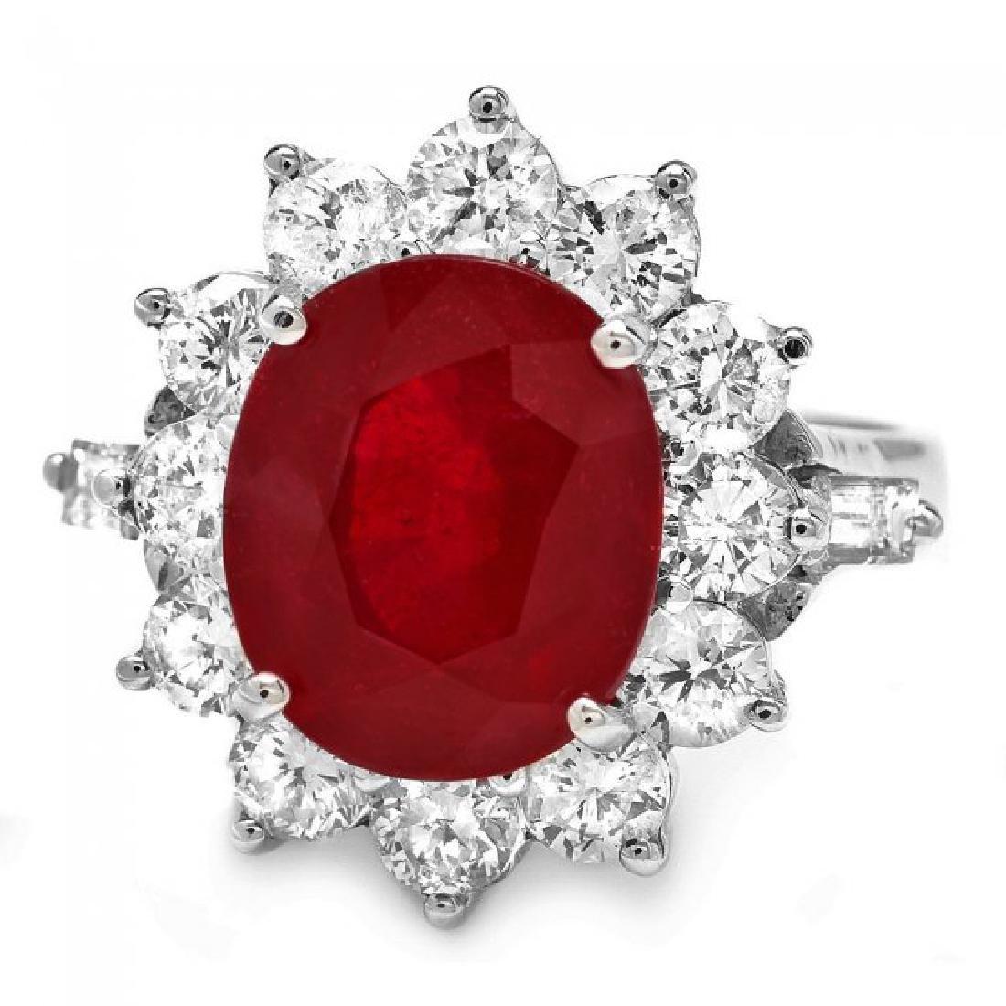 14k White Gold 7.00ct Ruby 2.3ct Diamond Ring - 2