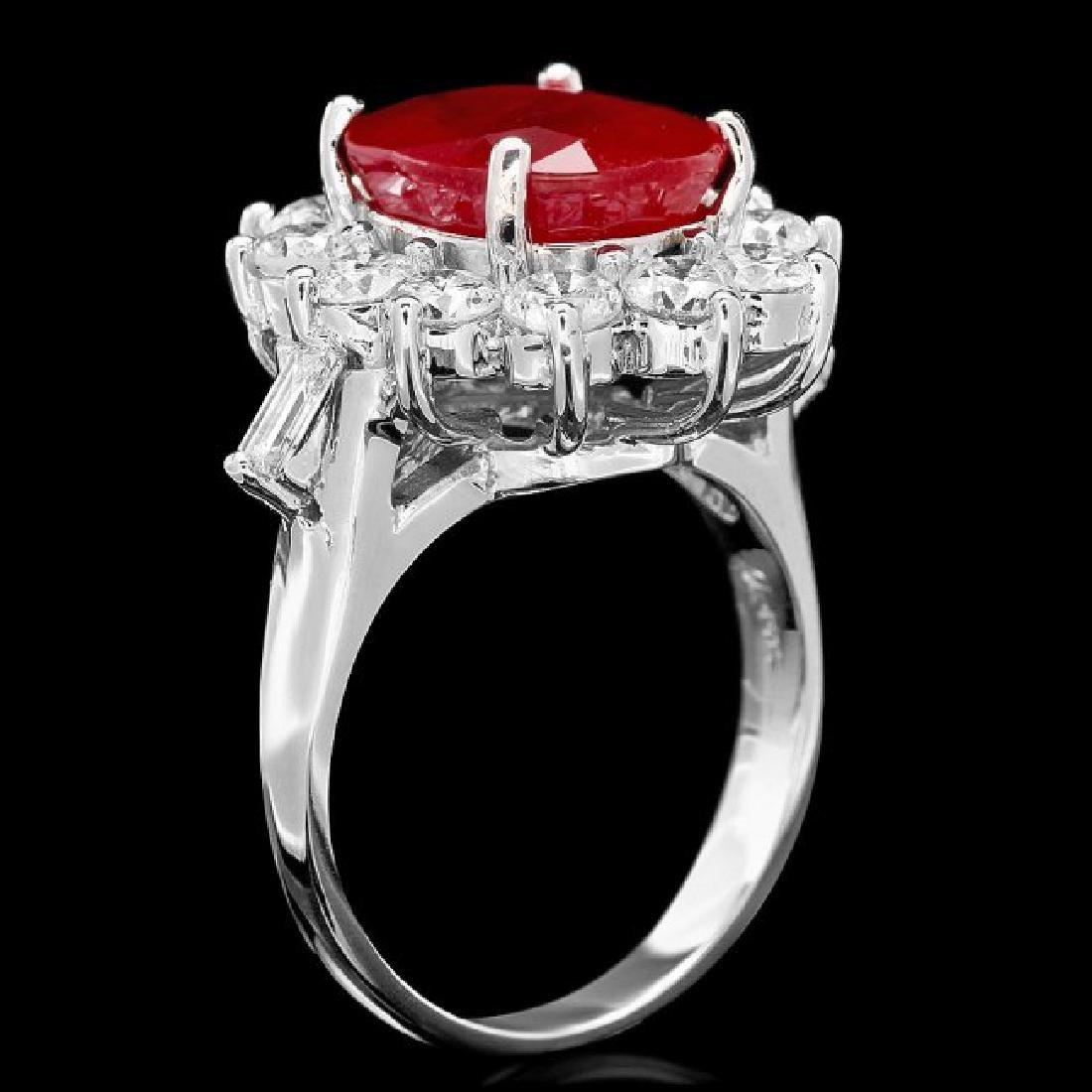 14k White Gold 7.00ct Ruby 2.3ct Diamond Ring - 3