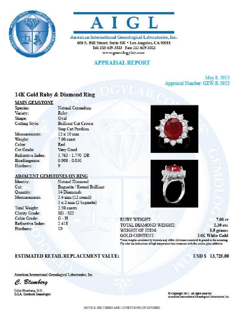 14k White Gold 7.00ct Ruby 2.3ct Diamond Ring - 5