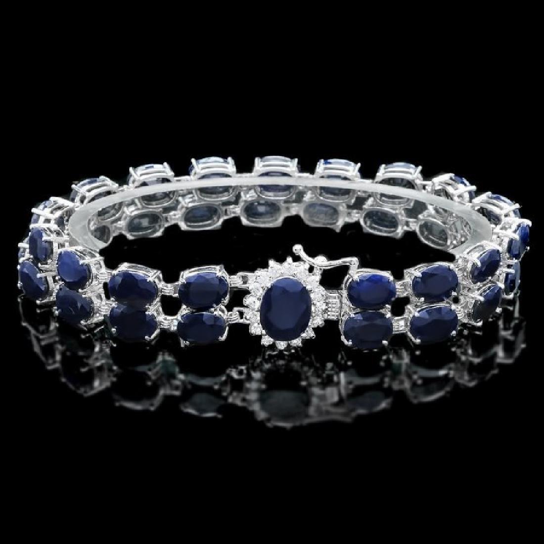 14k Gold 50ct Sapphire 0.50ct Diamond Bracelet - 2
