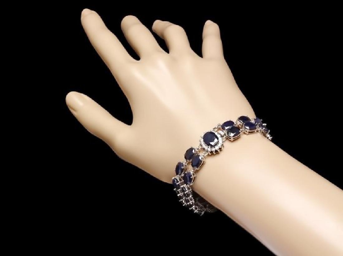 14k Gold 50ct Sapphire 0.50ct Diamond Bracelet - 4