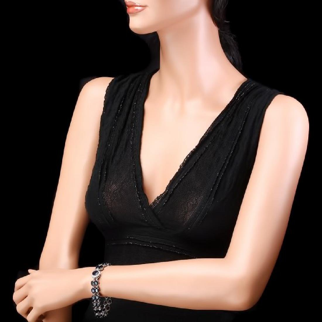 14k Gold 50ct Sapphire 0.50ct Diamond Bracelet - 5