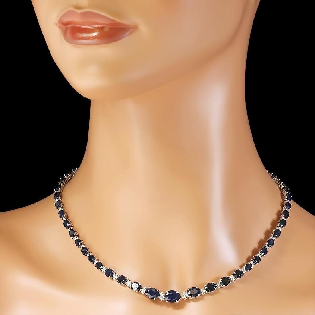 14k Gold 30.19ct Sapphire 1.25ct Diamond Necklace - 2