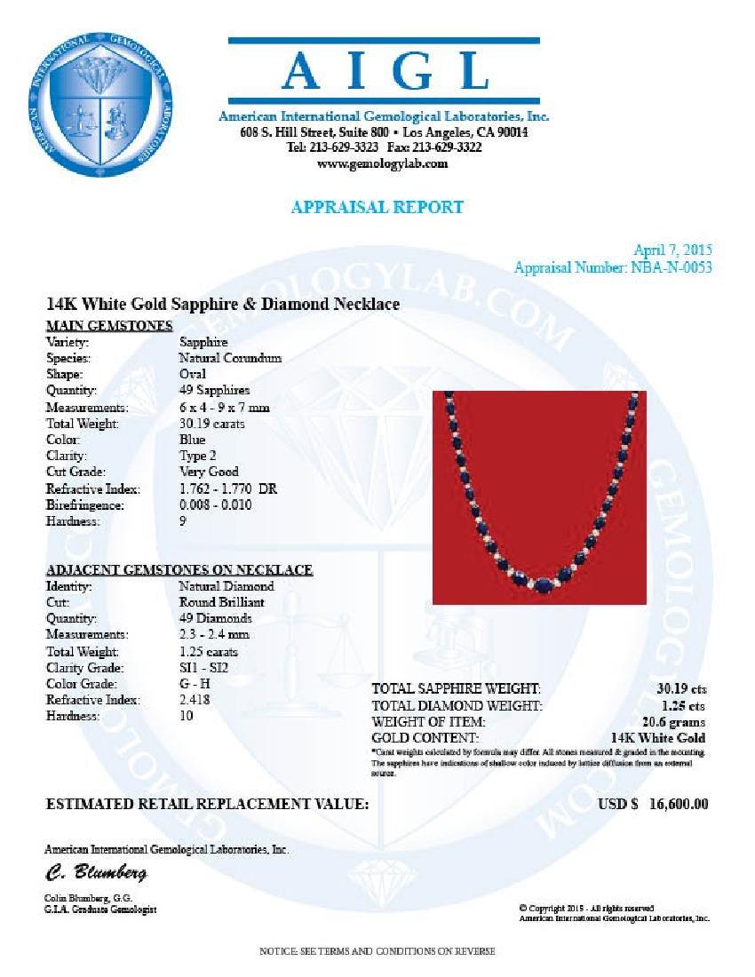 14k Gold 30.19ct Sapphire 1.25ct Diamond Necklace - 3
