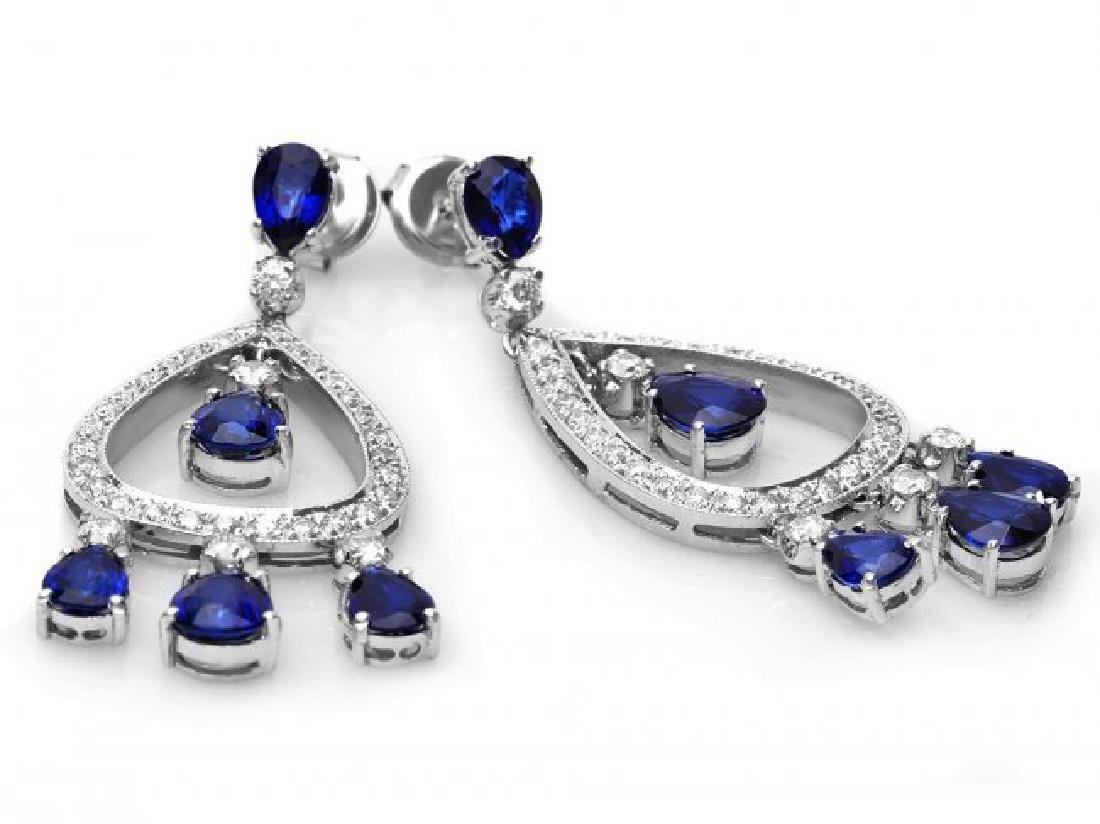 14k Gold 8ct Sapphire 1.10ct Diamond Earrings - 2