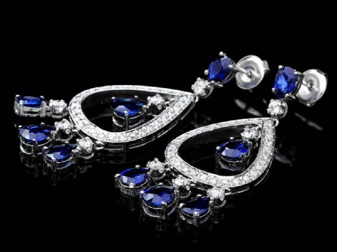 14k Gold 8ct Sapphire 1.10ct Diamond Earrings - 3
