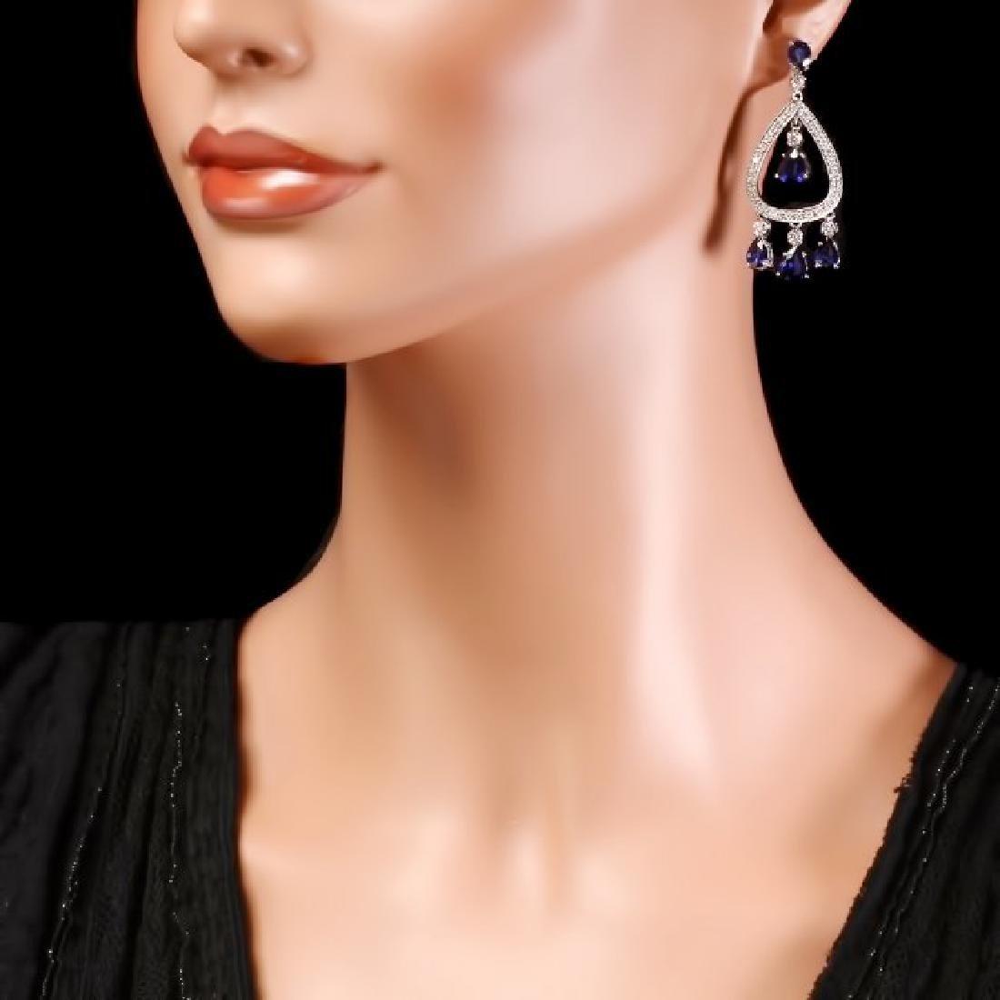 14k Gold 8ct Sapphire 1.10ct Diamond Earrings - 4