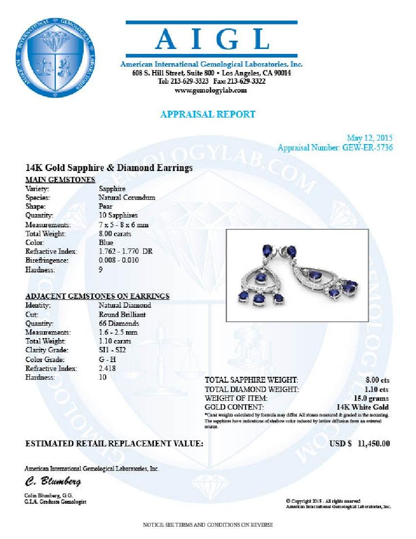 14k Gold 8ct Sapphire 1.10ct Diamond Earrings - 5